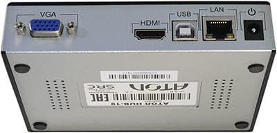 Порты VGA, HDMI, USB-B и LAN на задней части корпуса HUB-19