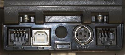 Порты АТОЛ 11Ф: порт LAN, USB-B, заглушка на GSM антенну, порт питания, RJ-11