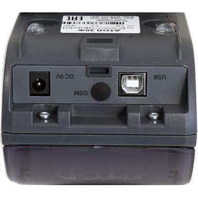 Порты АТОЛ 30Ф: стандартный порт питания V9, заглушка для антенны GSM, порт USB-B