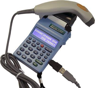 Сканер штрих-кодов, подключенный через переодник к Меркурий-180Ф