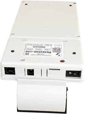 Меркурий-115Ф: RS-232 (COM), порт питания, слот для карт, переключатель включения.