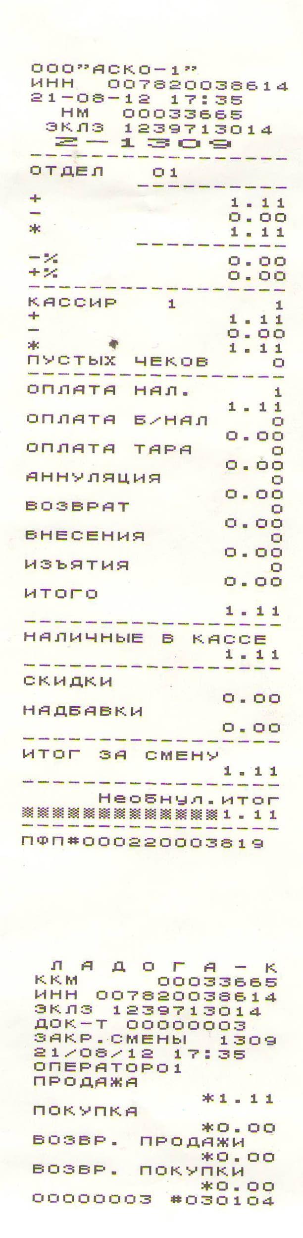 бланк отчёта кассира